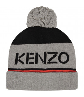 KENZO KIDS Grey boy hat with logo