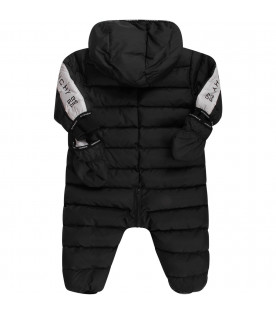 GIVENCHY KIDS Black babykids puff overall with logo