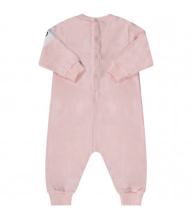 GIVENCHY KIDS Pink babygirl babygrow with black logo