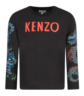 KENZO KIDS Black boy T-shirt with red logo and colofrul dragons