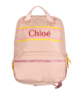 Pink girl backpack with logo