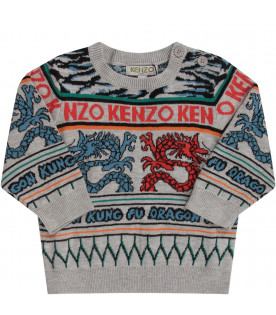 KENZO KIDS Grey babyboy sweater with colorful japanese dragons