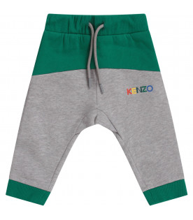 KENZO KIDS Grey and green babyboy sweatpants with colorful logo