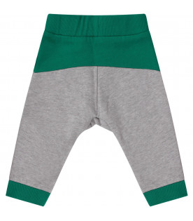 Grey and green babyboy sweatpants with colorful logo