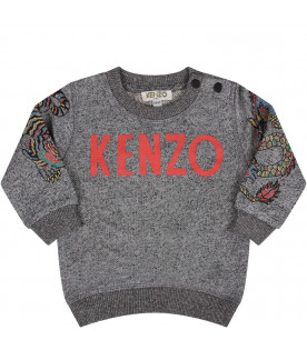 KENZO KIDS Melange grey  babyboy sweatshirt with red logo