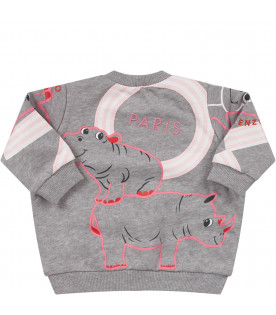KENZO KIDS Grey babygirl sweatshirt with colorful animals