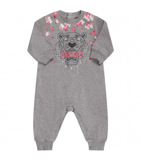 KENZO KIDS Grey babygirl babygrow with iconic tiger and pink logo
