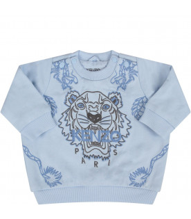 KENZO KIDS Light blue babyboy sweatshirt with iconic tiger and japanese dragons