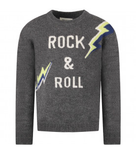 ZADIG & VOLTAIRE KIDS Grey boy sweater with white logo and colorful thunders