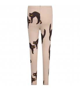 MINI RODINI Grey girl leggings with black cat