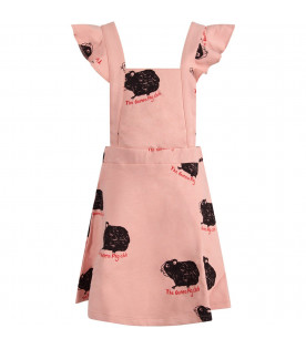 Pink girl overall with black guinea pigs