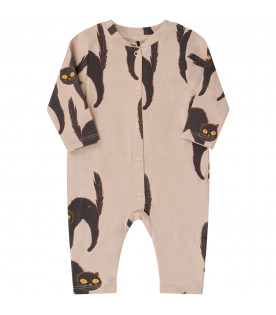 MINI RODINI Grey babykids babygrow with black cat