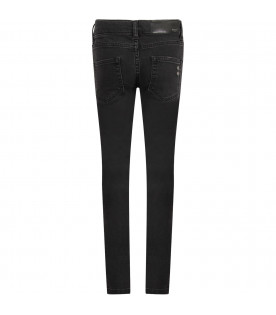 MOUTY PARIS Black boy jeans with white logo