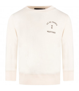 Ivory boy sweatshirt with black logo