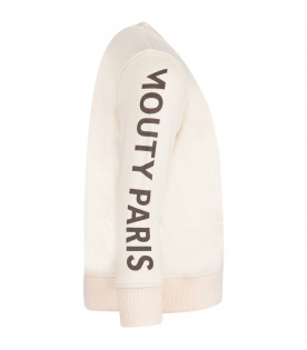 MOUTY PARIS Ivory boy sweatshirt with black logo