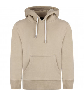 Beige boy sweatshirt with metallic details