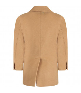 Camel boy coat with iconic details