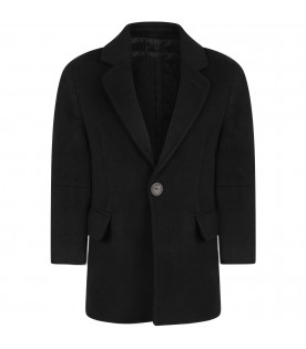 Black boy coat with iconic details