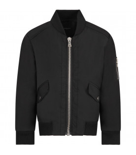 Black boy bomber jacket with metallic details