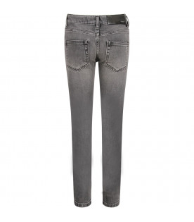 Grey boy jeans with white logo