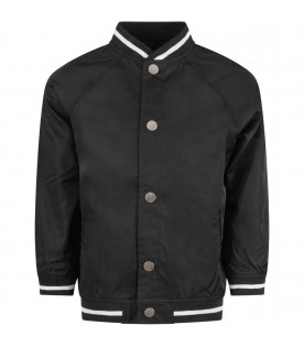 MOUTY PARIS Black boy bomber jacket with metallic details