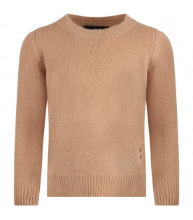 MOUTY PARIS Camel boy sweater with iconic details