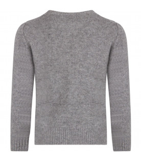 Grey boy sweater with iconic details