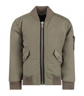 Green boy bomber jacket with metallic details