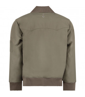 MOUTY PARIS Green boy bomber jacket with metallic details