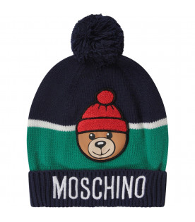 Blue and green boy hat with Teddy Bear