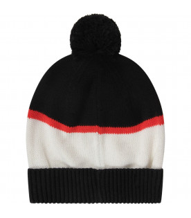 MOSCHINO KIDS Black and white kids hat with Teddy Bear