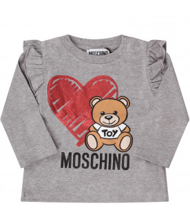MOSCHINO KIDS Grey babygirl T-shirt with Teddy Bear