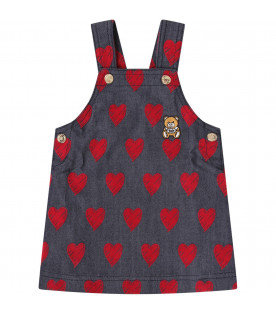 MOSCHINO KIDS Blue babygirl overall with red hearts
