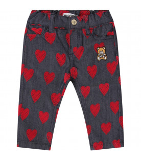 MOSCHINO KIDS Blue babygirl jeans with red hearts