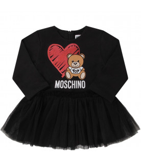 MOSCHINO KIDS Black babygirl dress with colorful Teddy Bear