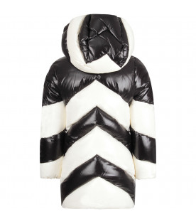 MONCLER KIDS Black and white girl jacket with iconic patch
