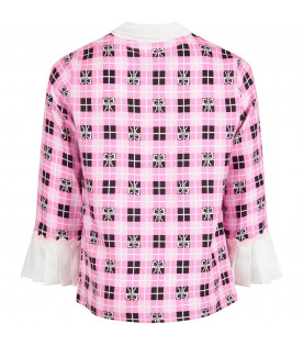 Pink girl shirt with white all-over bows