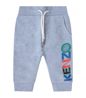 KENZO KIDS Light blue babyboy pants with colorful logo
