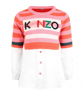KENZO KIDS Multicolor girl suit with logo