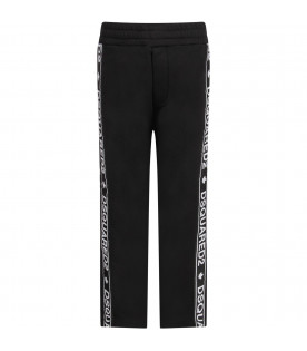 Black girl pants with white logo