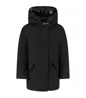 WOOLRICH KIDS Black girl Arctic Parka jacket with white logo