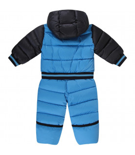 Light blue and blue babyboy overall with iconic patch