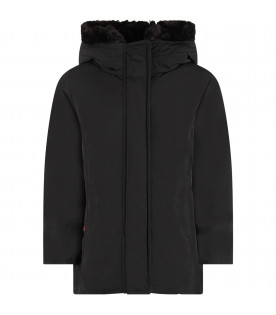 WOOLRICH KIDS Black girl Luxury Boulder jacket with iconic patch