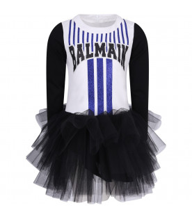 White and black girl dress with logo