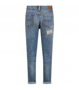 Light blue kids jeans with colorful details