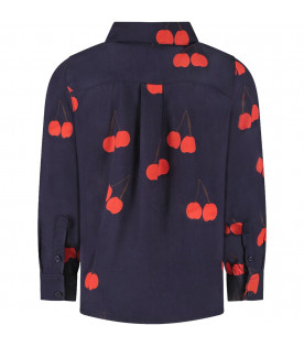 Blue kids shirt with red cherries