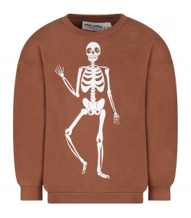 Brown kids sweatshirt with hite skeleton
