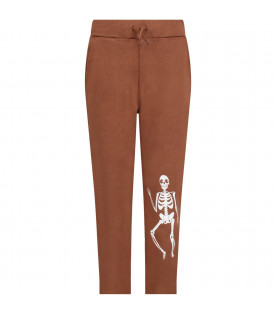 MINI RODINI Brown kids sweatpants with white skeleton
