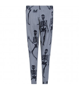 MINI RODINI Light blue boy sweatpants with blue skeletons