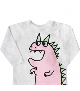 White babygirl T-shirt with colorful dragon